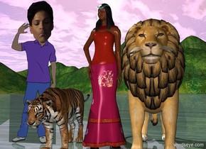 A tiger. A princess. A lion. A prince.