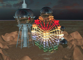 a 1500 inch tall [texture]  ferris wheel.ground is 70 feet tall.ambient light is  90% dim forget me not blue.a 1st 200 inch tall silver sphere is -600 inch above the ferris wheel.the 1st sphere is -150 inch right of the ferris wheel.a 2nd 350 inch tall silver sphere is -1200 inch above the ferris wheel.the 2nd sphere is -180 inch right of the ferris wheel.a 2500 inch tall silver water tower is left of the ferris wheel.it is evening.a 3rd 500 inch tall silver sphere is -200 inch above the ferris wheel.