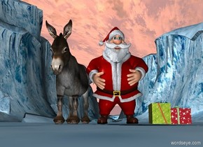 Santa Claus read on a donkey. Two presents.