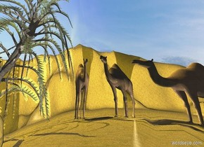 a upside down clear elephant.the elephant is facing left.the ground is 300 feet tall.a first camel is 20 feet behind the elephant.the camel is facing southwest.a second camel is 1 feet left of the first camel.a white light is left of the first camel.the ground is sand.a third camel is 1 feet left of the second camel.the third camel is facing southeast.a palm tree is 1 feet left of the third camel.a yellow light is above the tree.