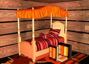a orange bed.behind the bed is a 1st flat wood  wall.left of the bed is a  2nd flat wood  wall.the 2nd wall is facing right.the 2nd wall is in front of the 1st wall.a 3rd large flat wood wall is above the 1st wall.the 3rd wall leans 60 degrees to the front.the 3rd wall is in front of the 1st wall.ground is texture.five large [book] books are right of the bed.ambient light is old gold.