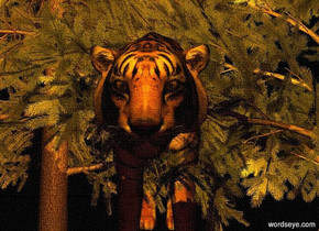 a 10 foot tall tiger. it is night. a 1st tree is -10 feet to the left of the tiger. a 2nd tree is -10 feet to the right of the tiger. the ground is black. the camera light is brown. 2 orange lights are -2 foot above and 1 foot in front of the tiger. a dim red light is -.5 foot to the left of and -3 feet above the tiger.
