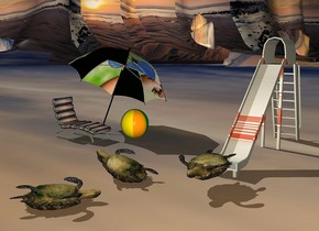 1st turtle is upside down. it is 6 inches above the ground. a large slide is behind the turtle and on the ground. the photographic slide is [silver]. 2nd turtle is 2.5 feet in front of and 2 feet left of the slide. it is upside down. it faces left. it leans 17 degrees to the back. it is -0.8 feet above the ground. the ground is [beach]. 3rd turtle is 1 feet in front of the 2nd turtle. it faces northeast. it is upside down. it is -0.5 feet above the ground. the sun is 20% sage green. the camera light is 30% orange. a  giant [solar] umbrella is 3 feet northwest of the 2nd turtle. it leans 30 degrees to the back. it is -3.5 feet above the ground. a [beach] lounge chair is -4 feet in front of the umbrella. it is on the ground. it faces right. a beach ball is right of and  0.5 feet behind the lounge chair.