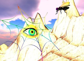 a rainbow web.a eye is -4.5 inches above the web.the eye is -7 inches right of the web.a fly is 5 inches in front of the eye.the fly is facing northwest.a yellow light is 1 feet in front of the eye.a red light is 1 feet above the eye.a green light is 2 inches above the fly.the ground is 75 feet tall.a rust light is left of the fly.the fly is leaning 45 degrees to the west.a blue light is behind the fly.a lemon light is beneath the eye.the ground is 150 feet wide.the ground is rock.the sun is pink.