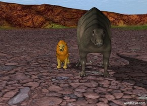 the lion is 1 foot away from the dinosaur