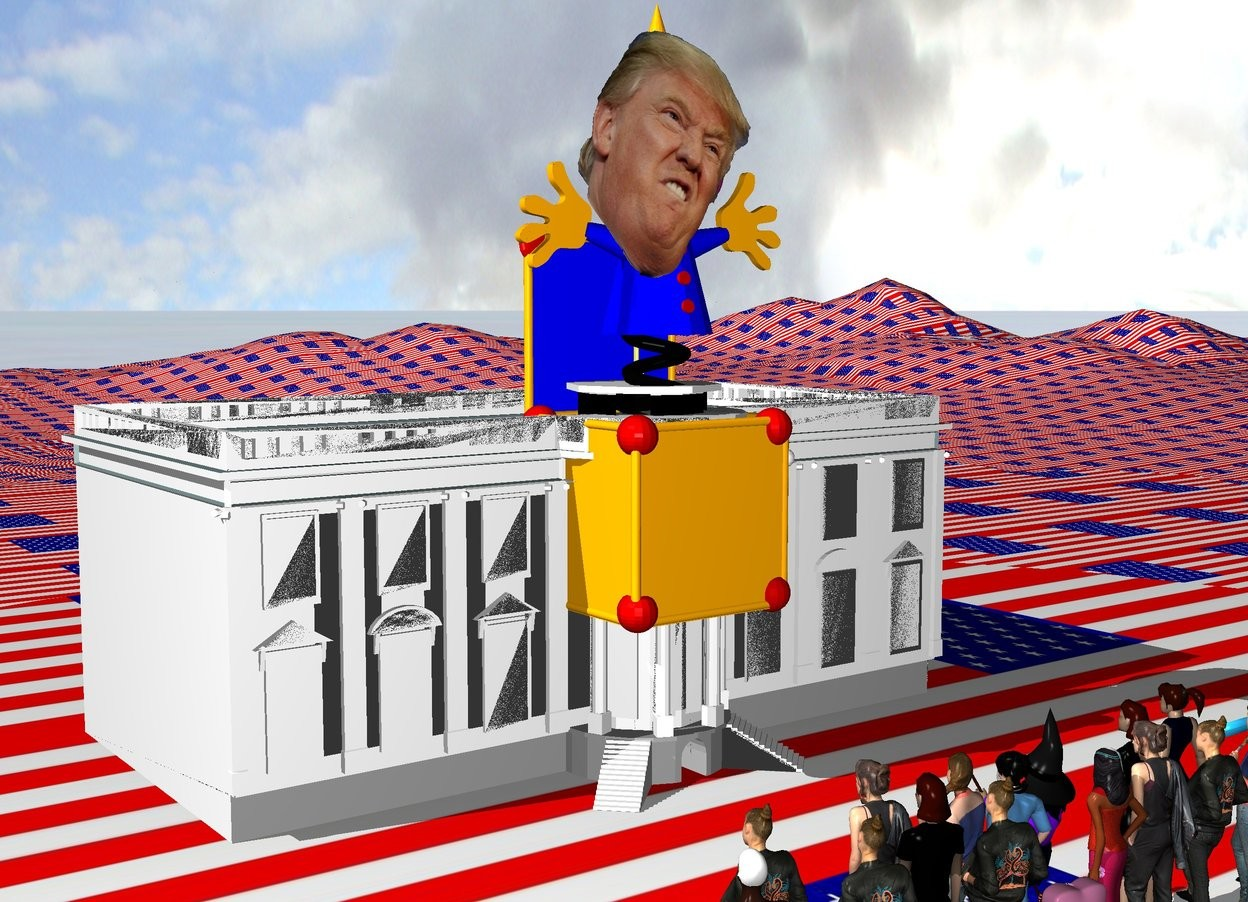 Input text: The humongous Jack in the box is -13 feet above and -7 feet in front of the tiny White House. The huge head is -9 feet above and in front of the jack in the box. It is -6 feet to the left of the jack in the box.The [flag] texture is on the ground. The texture is 5 feet tall.   12 women are 15 feet in front of the White House. They are facing the White House.  10 people are behind the women. They are facing back.