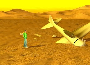 a [metal] plane. it is leaning 34 degrees to the southeast. it is 7.2 feet in the ground. a man is next to the plane. the man is on the ground. he is 4 feet tall. he is facing east. his shirt is dark green. gray metal is 5 feet northeast of the man. it is leaning 90 degrees to the south. a large metal is 8 feet northeast of the man. it is leaning 90 degrees to the south. it is gray. a small [metal] rock is 2 feet southeast of the metal. it is 5 inches in the ground. another small [metal] rock is 2 feet northwest of the metal. it is 1.5 foot in the ground. the ambient light is orange. the sun is yellow.