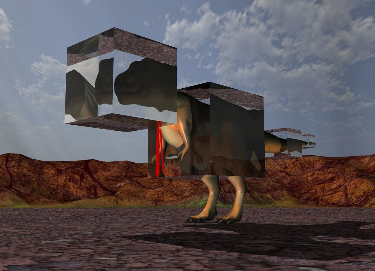 Input text: the first very huge clear cube is -6 feet in front and -7 feet above the dinosaur. the second enormous clear cube is 12 feet in the dinosaur. it is -20 feet in front of the dinosaur. the third very large clear cube is -10 feet behind the dinosaur. it is 9 feet above the ground. a fourth large clear cube is 4 foot behind the third cube. it is -2 feet above the third cube. the huge red necktie is 2.4 foot in front of the second cube.