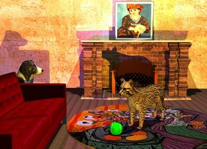 a matisse rug is in the center of a 30 foot wide wood floor. a 30 foot wide [wall] wall is -1 inch behind the floor. a large [brick] fireplace is in front of the wall. the sun's altitude is -1 degrees. a orange cat is in the center of the rug. it is facing southwest. a large tennis ball is -6 inch in front of  and -6 inch to the left of the cat. a maroon sofa is to the left of and -4 feet in front of the rug. it is facing right. a border collie is behind and -2 feet to the left of the sofa. it is facing the cat. the rug's outside is orange. the camera light is dim beige. an orange light is 10 feet in front of the cat. a cream light is 10 feet above the cat. a matisse painting is above the fireplace. an indigo light is 1 inch to the right of and above the border collie.