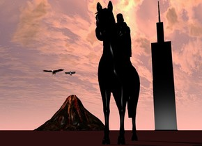 there is a big black horse. On the horse is a black woman. behind the horse is a tiny tower. The tower is black. The tower is 500 feet away from the horse. On the left of the tower is a big volcano. The volcano is 100 feet away from the tower. 50 feet above the volcano are two enormous eagles. The ground is brown.