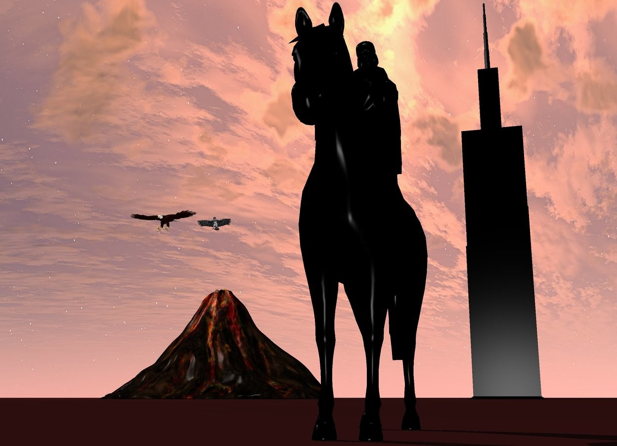 Input text: there is a big black horse. On the horse is a black woman. behind the horse is a tiny tower. The tower is black. The tower is 500 feet away from the horse. On the left of the tower is a big volcano. The volcano is 100 feet away from the tower. 50 feet above the volcano are two enormous eagles. The ground is brown.
