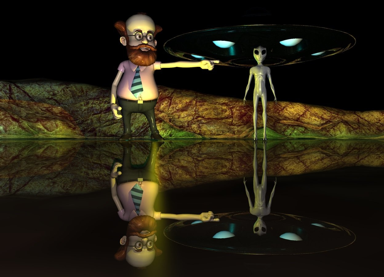 Input text: The man is 1 foot to the left of the alien. The silver ufo is 4 feet above the alien. it is 20 feet behind the alien.  A big yellow light is in front of the man. a big cyan light is under the ufo. it is night. The ground is shiny.
