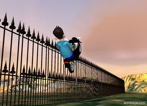 a fence.the fence is 200 feet long.a vehicle is 1 feet in front of the fence.the vehicle is 3 feet above the ground.the vehicle is facing right.the vehicle is leaning 45 degrees to the north.a 4 feet tall man is -55 inches above the vehicle.the man is facing right.the man is leaning 45 degrees to the north.the man is -100 inches right of the vehicle.the ground is field.the sun is pink.