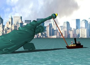 A Trump is -4 feet left of and -4.8 foot above and -6 inches in front of the statue of liberty. The ground is water. The background is city. The statue is -10 feet above the ground. the statue of liberty leans 66 degrees to the left.The sun is silver. a tugboat is right of and -1.8 feet in front of the statue of liberty. it faces right. it is -2 feet above the ground. a 25.9 feet tall and 0.5 feet  wide  [hair] tube is -3 feet to the left of and -7 feet above  the boat. it leans 38 degrees to the right. a small man is -7 feet left of and -5 feet above the boat. he faces left.