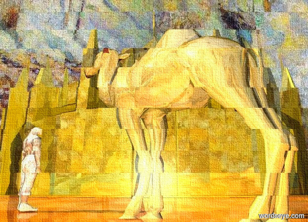 Input text: a silver television.a gold church is 30 feet in front of the television.a shiny camel is 15 feet behind the church.the camel is facing southwest.a man is in front of the camel.the man is 1 feet left of the camel.the man is facing southeast.the man is sand.the man is shiny.the church is shiny.the sky is art.the ground is field.the ground is shiny.