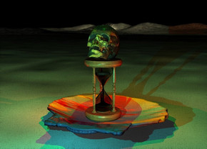 a 2 feet tall shell.the shell is face down.a old gold hourglass is -2 inches above the shell.a skull is -4 inches above the hourglass.the skull is face up.the skull is leaning 45 degrees to the south.the shell is sky.the skull is bone.the ground is water.it is night.a green light is above the skull.a aqua light is 6 inches in front of the shell.a rust light is right of the hourglass.a red light is left of the hourglass.