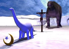 the ground is white. it is noon. 1st white dinosaur is 10 feet tall.  the camera light is blue. there is a pink light 5 feet behind and 20 feet above the dinosaur. there is a 3 feet tall islam symbol .1 feet in front of dinosaur. there is a 2nd dinosaur 50 feet behind the 1st dinosaur. the 2nd dinosaur is 50 feet tall. there is a 16 foot tall crucifix 10 feet behind the 1st dinosaur. there is a white light 1 feet in front of the crucifix. the white light is facing the crucifix. there is a 2nd white light 3 feet left of 2nd dinosaur. the 2nd white light is facing the 2nd dinosaur.