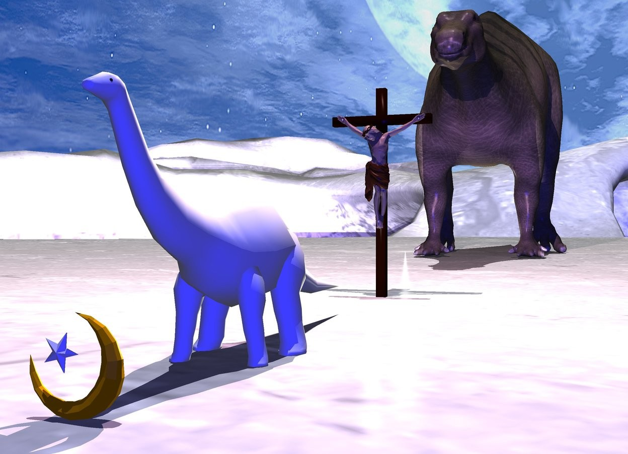 Input text: the ground is white. it is noon. 1st white dinosaur is 10 feet tall.  the camera light is blue. there is a pink light 5 feet behind and 20 feet above the dinosaur. there is a 3 feet tall islam symbol .1 feet in front of dinosaur. there is a 2nd dinosaur 50 feet behind the 1st dinosaur. the 2nd dinosaur is 50 feet tall. there is a 16 foot tall crucifix 10 feet behind the 1st dinosaur. there is a white light 1 feet in front of the crucifix. the white light is facing the crucifix. there is a 2nd white light 3 feet left of 2nd dinosaur. the 2nd white light is facing the 2nd dinosaur.