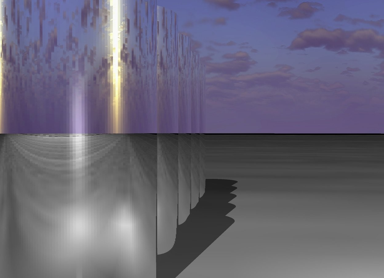 Input text: five humongous silver cylinders. the ground is [saturn].