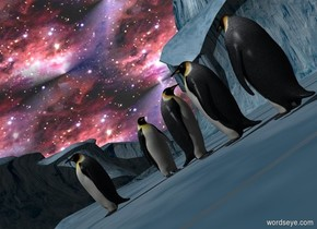 a silver part.a first penguin is 20 feet in front of the part.the first penguin is 3 feet right of the part.the first penguin is facing left.a second penguin is 2 feet right of the first penguin.a third penguin is 2 feet behind the second penguin.the third penguin is facing northeast.the sky is texture.the texture is 1100 feet tall.a fourth penguin is 1 feet behind the third penguin.the fourth penguin is facing southwest.a fifth penguin is 1 feet behind the fourth penguin.the second penguin is facing north.the camera light is black.