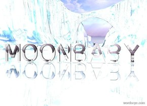 """sky . The ground is reflective. Large purple text """"MOONBABY"""""""