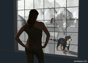 a first wall.the first wall is 2 feet tall.a window is above the wall.a second wall is left of the window.a third wall is right of the window.a woman is 1 feet in front of the window.the woman is on the ground.the woman is facing the window.a dog is 7 feet behind the window.the dog is on the ground.the sky is texture.the texture is 1000 feet tall.the ground is snow.the first wall is forget me not blue.the second wall is forget me not blue.the third wall is forget me not blue.a 80% white light is 1 feet behind the woman.a park bench is 8 feet behind the dog.the bench is 2 feet left of the dog.the bench is facing southwest.the bench is snow.a small tree is 10 feet behind the bench.the ground is 125 feet tall.the dog is facing southeast.the camera light is black.