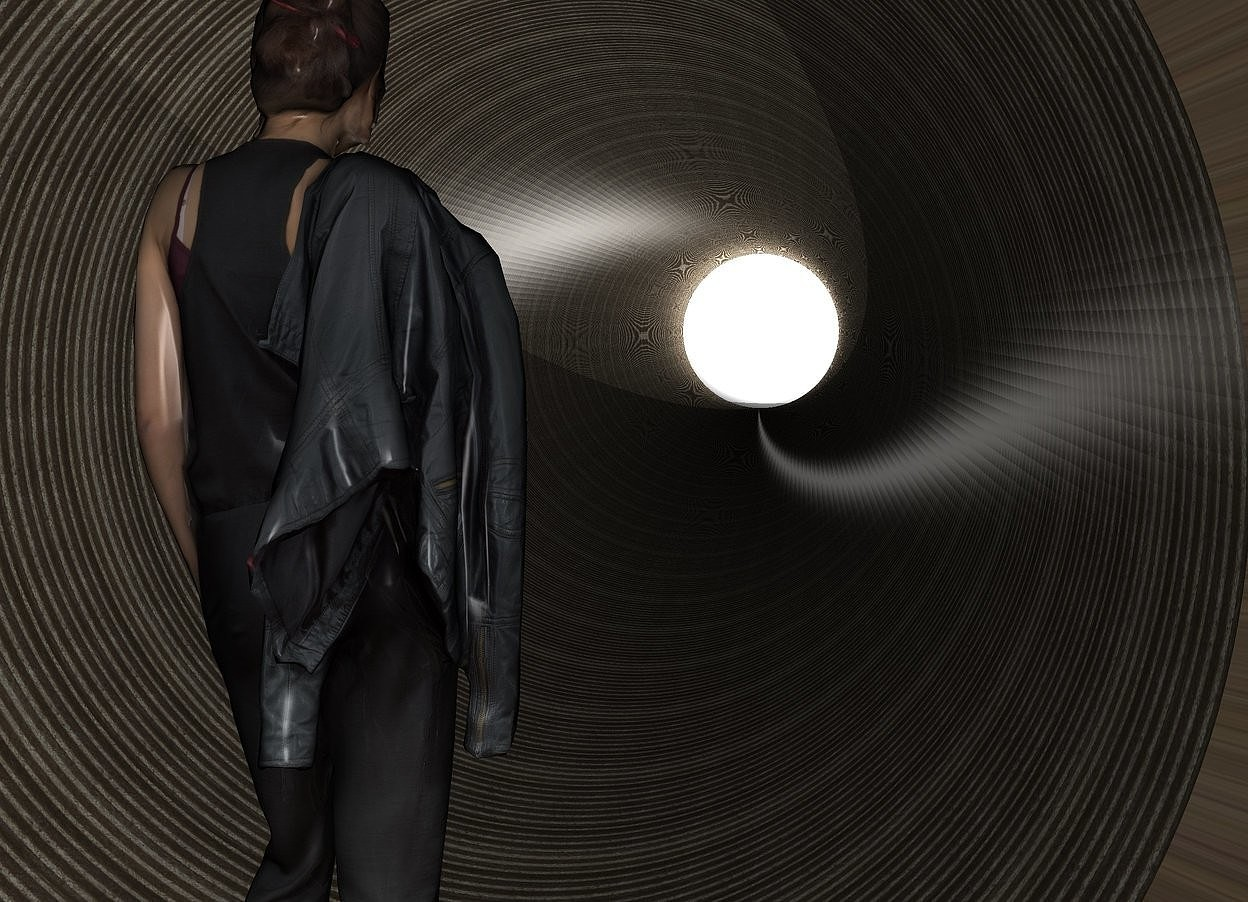 Input text: a 45 foot tall and 6 foot wide [metal] tube is leaning 90 degrees to the back. a 4 foot tall woman is -1 foot in front of the tube. she is .5 feet above the ground. she is facing back. 3 lights are behind the tube. it is night. a 10 foot tall shiny white sphere is 1 foot behind the tube.