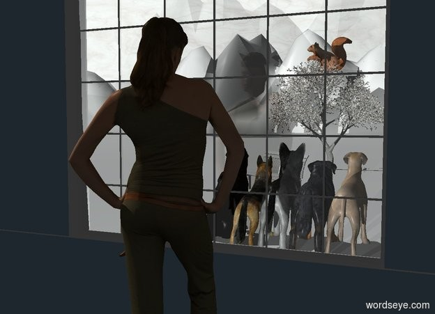Input text: a first wall.the first wall is 2 feet tall.a window is above the wall.a second wall is left of the window.a third wall is right of the window.a woman is 1 feet in front of the window.the woman is on the ground.the woman is facing the window.a 1st dog is 7 feet behind the window.the dog is on the ground.the sky is texture.the texture is 1000 feet tall.the ground is snow.the first wall is forget me not blue.the second wall is forget me not blue.the third wall is forget me not blue.a 80% white light is 1 feet behind the woman.a park bench is 8 feet behind the dog.the bench is 2 feet left of the dog.the bench is facing southwest.the bench is snow.a small tree is 10 feet behind the bench.the ground is 125 feet tall.the dog is facing back. the camera light is black. a 2nd 3.5 foot tall dog is -1 inch to the left of the first dog. it is facing back. a 3rd 3 foot tall dog is -1 inch to the left of the 2nd dog.it is facing back. a 4th 3.3 foot tall dog is -1 inch to the left of the 3rd dog. it is facing back. a 5th 3.2 foot tall dog is -1 inch to the right of the first dog. it is facing back. a very big squirrel is -2 foot above the tree. it is facing left.