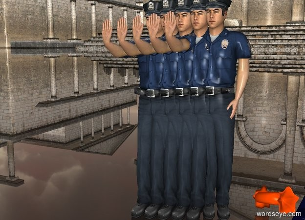 Input text: a 1st 20 inch tall police man.ground is clear.a 2nd 20 inch tall police man is -5 inch right of the 1st man.a 3rd 20 inch tall police man is -5 inch right of the 2nd man.a 4th 20 inch tall police man is -5 inch right of the 3rd man.a 5th 20 inch tall police man is -5 inch right of the 4th man.ground is 300 feet tall.ambient  light is gray.a 6th 18 inch tall police man is behind the 3rd man.the 6th man is -9 inch right of the 3rd man.
