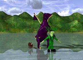 Man. Man is green. Donkey is right to man. Cat is left to man. Swamp. Cat is big.Hat on cat. Shrek is above man. Shrek is green. Sword 1 feet in front of cat. Dragon 2 feet behind Man. Dragon is purple.