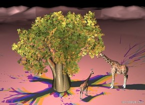 a tree.a red light is -1 feet above the tree.a blue light is 1 feet left of the red light.a yellow light is 1 feet right of the red light.it is night.a white light is in front of the tree.a 1st giraffe is -5 feet right of the tree.the  1st giraffe is facing left.a 2nd 10 feet tall giraffe is in front of the 1st giraffe.the 2nd giraffe is 6 inches left of the 1st giraffe.the 2nd giraffe is facing northeast.