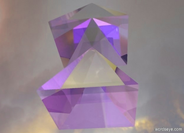 Input text: the 1st 30 foot tall shiny glass  pyramid. the ground is [sky]. the 1st pyramid is 35 foot above the ground. the 2nd 30 foot tall shiny glass pyramid is above the 1st pyramid. the pink light is above the 2nd pyramid. the blue light is above the 1st pyramid.