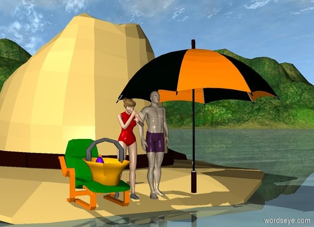 Input text: a giant hat is -3 inches above the ground. a tiny man is -38 inches above and -8 inches in front of the hat. a tiny woman is next to the man. a tiny green chair next to the woman. a 2.3 feet tall umbrella -10 inches to the right of the man. a small basket on the chair