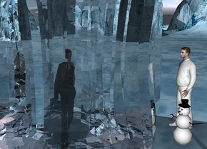 a 15 feet tall ice cube.a 8 feet tall woman is -15 feet above the ice cube.a snowman is right of the ice cube.the snowman is facing southwest.the woman is facing southeast.a 8 feet tall white man is behind the snowman.the man is facing the woman.