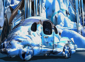 a 50 inch tall shiny car. the car is 80 inch wide [snow].ground is 800 feet tall.ground is 10000 inch wide [snow].sun is forget me not blue.the bumper of the car is [snow].the wheel of the car is [snow].the license plate of the car is [snow].the window of the car is [snow].
