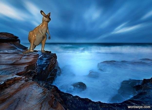 Input text: a 800 inch wide and 650 inch tall flat   [Storm] wall.a 170 inch tall kangaroo is in front of the wall.the kangaroo is -320 inch above the wall.the kangaroo is -690 inch right of the wall.the kangaroo is facing southeast.