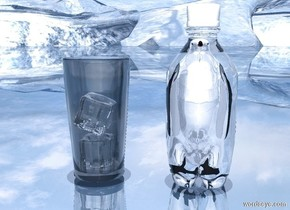a tiny shiny bird is -.95 foot above a 1 foot tall clear white bottle. ground is shiny forget me not blue. a tiny baby blue light is -.2 foot above the bottle. a gigantic shiny [blue] wall is 10 feet in front of the bottle. a clear white glass is .2 foot to the left of the bottle. a 1st white ice cube is -.68 foot above the glass. a 2nd white ice cube is above the 1st ice cube. it leans to the left. a tiny  powder blue light is -.1 foot beneath the 2nd ice cube. ambient light is baby blue. it is noon.