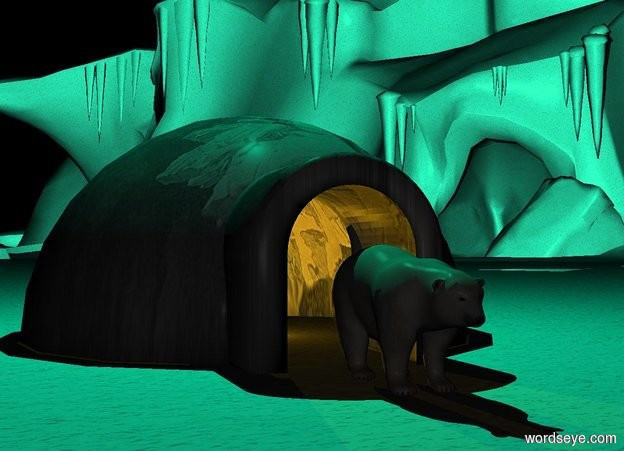 Input text: a structure.a yellow light is -8 feet in front of the structure.it is night.a bear is in front of the structure.the ground is [snow].the structure is [ice].a cyan light is 8 feet above the structure.the camera light is dark.