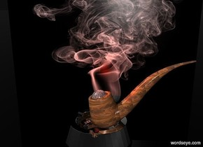 a 800 inch wide and 650 inch tall flat wall.the wall is 800 inch wide [Blurred Motion].sky is black.ground is clear.a 70 inch tall silver ashtray is in front of the wall.the ashtray is -550 inch above the wall.a 190 inch tall wood pipe is -40 inch above the ashtray.the pipe is -205 inch right of the ashtray.the pipe leans 15 degrees to right. a 60 inch tall fire orange sphere is -190 inch above the pipe.the sphere is 10 inch wide shiny [crack].the sphere is -100 inch left of the pipe.a tiny fire orange light is 5 inch above the sphere.
