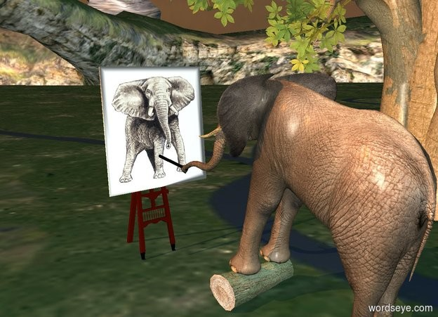 Input text: a 1.5 foot wide and 1.5 foot deep and 4 foot tall log leans 90 degrees to the right. it is 6 foot in front of a large easel. an elephant is -1.5 foot above and -9 feet behind the log. the elephant faces the easel. it leans 15 degrees to the back. a large [elephant] painting is -4.3 foot above and -.3 foot in front of the easel. it leans 5 degrees to the back. a huge black pencil is -6 foot above and -1 foot behind the elephant. the pencil leans 100 degrees to the front. ambient light is charcoal gray. a tree is -3 feet to the right of the log. sun is old gold.