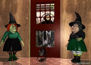 a 1st door.a grim reaper is 6 inches behind the 1st door.a 1st wall is right of the door.a 2nd wall is left of the door.the door's panel is [skull].a green light is in front of the man.a 1st witch is left of the door.a 2nd witch is right of the door.the 1st witch is facing southeast.a cat is in front of the door.the 1st witch is in front of the 2nd wall.the 2nd witch is in front of the 1st wall.it is night.shiny ground.the 2nd witch is facing southwest.the 1st wall is [weather].the 2nd wall is [weather].a 35% red light is 6 feet above the cat.