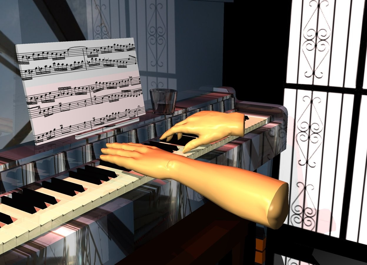 Input text: a dull [wood] piano. the piano's white key is dull ivory. The piano's music stand is .565 foot wide [music]. a 1st 2 foot tall 60% tan hand is -1 feet in front of and -1.9 feet above and -3.5 feet to the left of the piano. the hand faces right. it leans 90 degrees to the right. a 2nd 1 foot tall 60% tan hand is .5 foot to the right of and -1 foot behind the 1st hand. it faces left. it leans 90 degrees to the left. a .3 foot tall and .3 foot wide glass is -.2 foot  in front of and to the right of the piano's music stand. a huge maroon light is 5 feet above the piano. ground is silver. a 6 foot tall and 20 foot wide [window] wall is to the right of and -16 foot in front of the piano. it faces right. it is .1 foot in the ground.