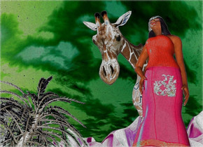 A woman is in a green desert. She is leaning 20 degrees to the back. The ground is 120 feet high and shiny. A giraffe is left of and behind and -10 feet above the woman. It is leaning 50 degrees to the front. A silver tree is 16 feet left of and behind the giraffe. A silver tree is left of and behind the tree. A silver tree is behind the tree. It is facing east.