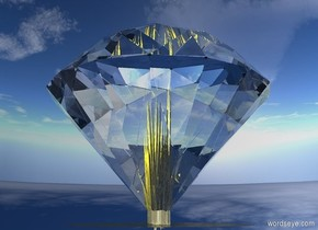 a 200 foot tall diamond. ground is 200 foot wide and 200 foot tall and 200 foot deep. ground is shiny gold. sky is 1000 feet tall. 12 gold lights are -100 foot above the diamond. 12 lemon lights are beneath the gold lights. 12 yellow lights are beneath the lemon lights.