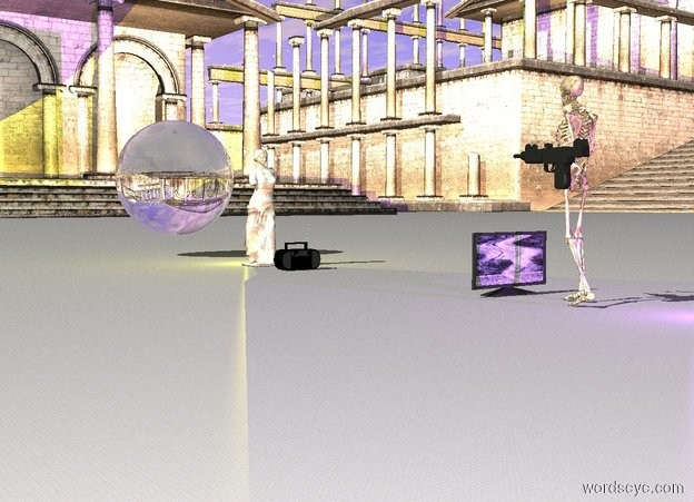Input text: a skeleton.a statue is 15 feet behind the skeleton. the statue is marble. a gun is left of the skeleton.the gun is 3 feet above the ground.the skeleton is facing the statue.the gun is facing the statue.the ground is marble.the statue is 5 feet tall.a blue-violet light is 2 feet in front of the skeleton.a yellow light is behind the statue. there is an extremely large sphere 5 feet behind the statue 1 foot above the ground. the sphere is transparent. a television is 1 foot behind the skeleton on the ground facing northwest. a radio is 1 foot in front of the statue on the ground.