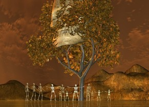 the very humongous orange skull is 35 feet in the orange shiny tree. the sun is orange spice. it is dusk. the orange light is 5 feet to the left of the tree. it is 20 feet above the ground. the ground is orange. 7 skeletons are in front of the tree. they are facing the tree. 8 skeletons are behind the tree. they are facing the tree.