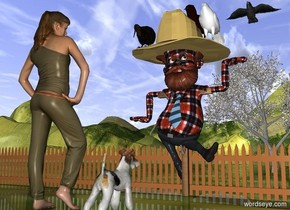 The wood cross. The large [plaid] man is 8  feet in the cross. The fence is behind the cross. It is 50 feet wide. The ground is grass. The very large hat is 23 inches in the man. The shirt of the man is [plaid]. The huge crow is 8 foot above and 19 feet behind the hat. The apple tree is 25 feet behind the fence. The large dog is 6 feet in front of the cross. It is facing the cross. The large woman is 1 foot to the left of the dog. She is facing the cross. The second large bird is -2 foot above and -1 foot to the left of the hat. the hat. A third large bird is 3 feet to the right of the second bird. A fourth large bird is 4.5 feet to the right and -2.5 feet above the second bird.