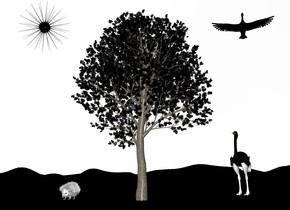 the black tree. the ground is black. the sky is white. the huge white hedgehog is to the left of the tree. the huge black bird is -4 foot above and to the right of the tree. the tall ostrich is 13 foot behind and to the right of the tree. it is facing to the tree. the ostrich's neck is black. the ostrich's leg is white. the big black sun symbol is -3 foot above and 3 foot to the left of the tree