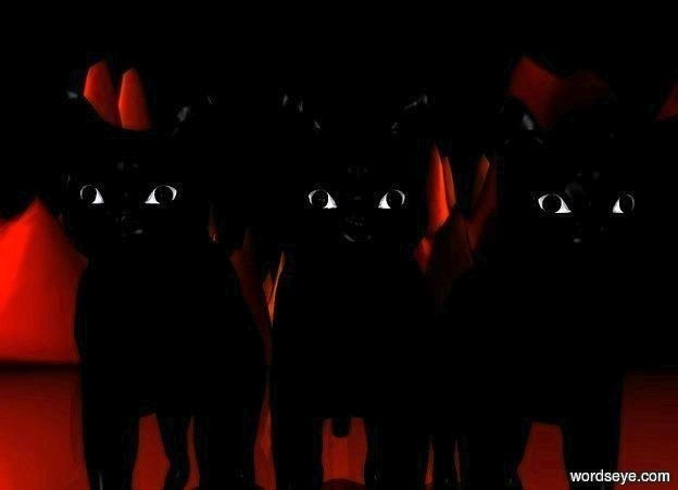 Input text: a 1st black cat. a 2nd black cat is to the left of the 1st cat. a 3rd black cat is to the left of the 2nd cat. ground is [forest].  ground is 500 feet wide. it is night. camera light is ghost white. a gray light is 10 feet above and 10 feet in front of the 2nd cat.