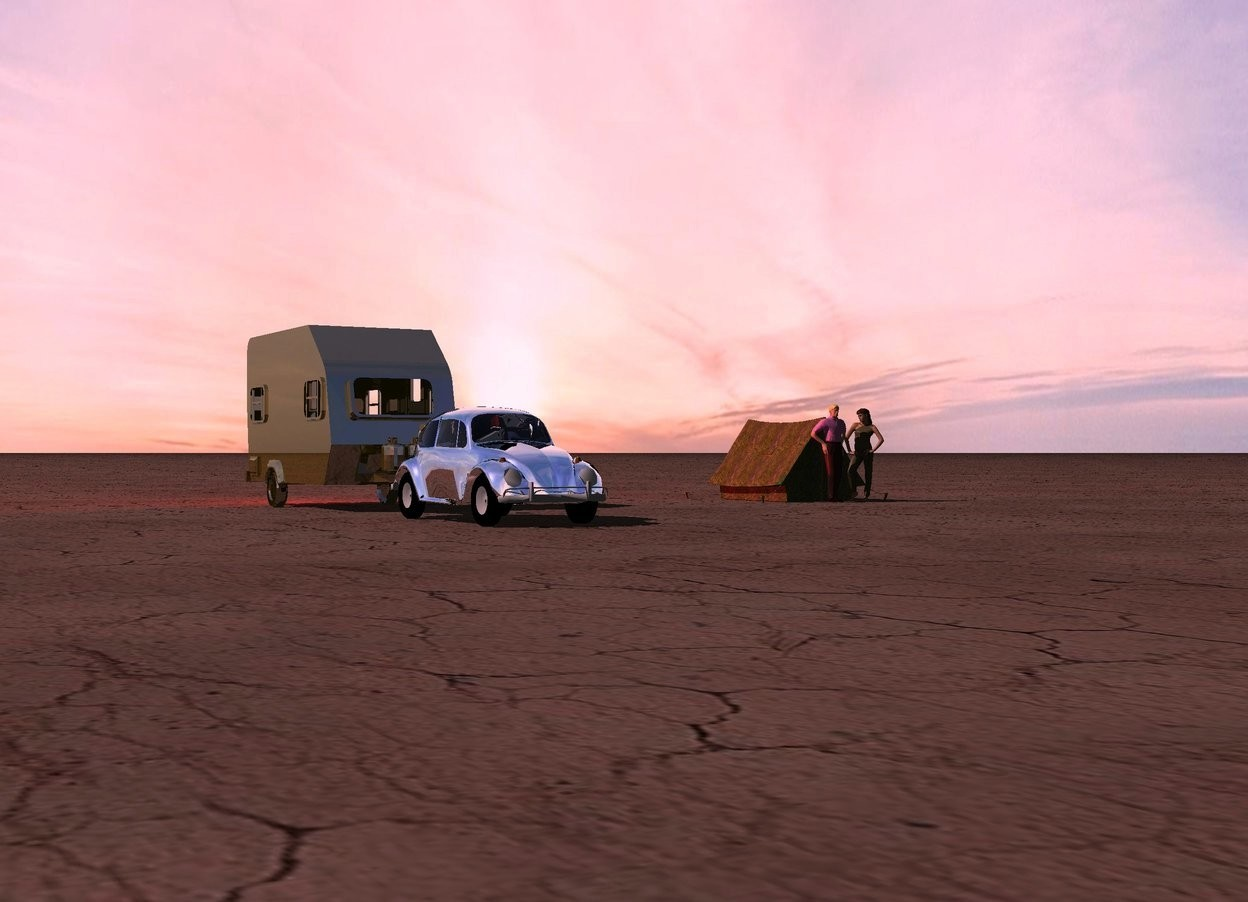 Input text: A silver car is in front of a dark gold camper. The ground is 30 feet wide [dirt]. The sun is pink. A 50% dark [green] tent is 20 feet right of the camper. A man is in front of the tent. A woman is right of the man. She is facing the man. Camera light is black. A huge red light is behind the camper.